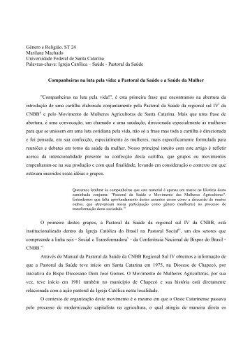 Gênero e Religião. ST 24 Marilane Machado Universidade Federal ...
