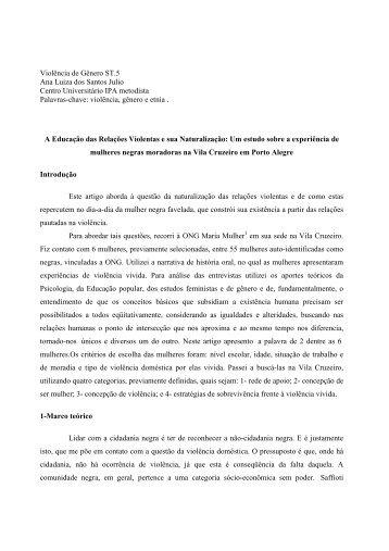 Violência de Gênero ST.5 Ana Luiza dos Santos ... - Fazendo Gênero