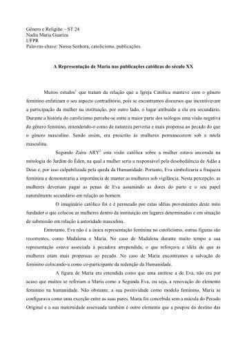Gênero e Religião – ST 24 Nadia Maria Guariza ... - Fazendo Gênero