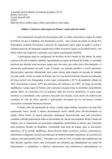 A questão racial no Brasil e as relações de gênero. ST 18 Beatriz ...
