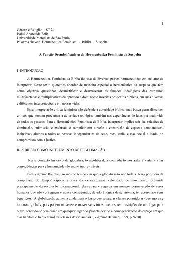 ST 24 Isabel Aparecida Felix Universidade ... - Fazendo Gênero