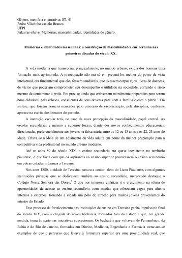 Gênero, memória e narrativas ST. 41 Pedro ... - Fazendo Gênero