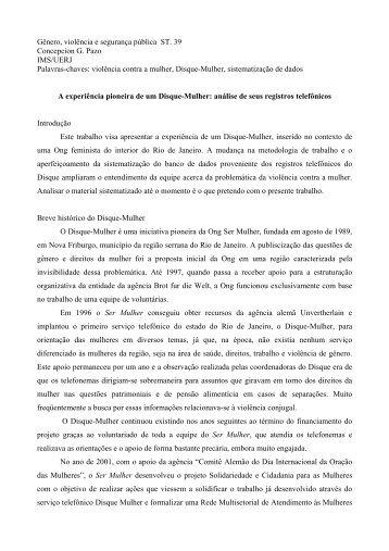 Gênero, violência e segurança pública ST. 39 ... - Fazendo Gênero