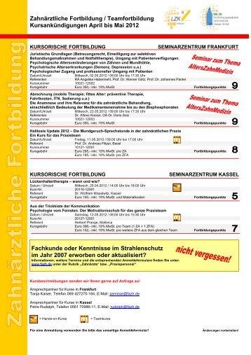 Zahnärztliche Fortbildung / Teamfortbildung Kursankündigungen ...