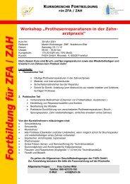 """Workshop """"Prothesenreparaturen in der Zahn- arztpraxis"""""""