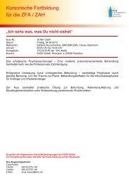 Kursorische Fortbildung für die ZFA / ZAH - Fortbildungsakademie ...