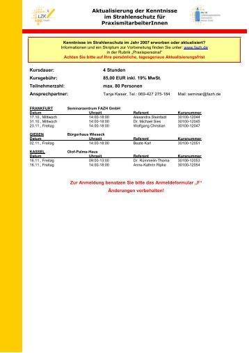 Aktualisierung der Kenntnisse im Strahlenschutz für ...