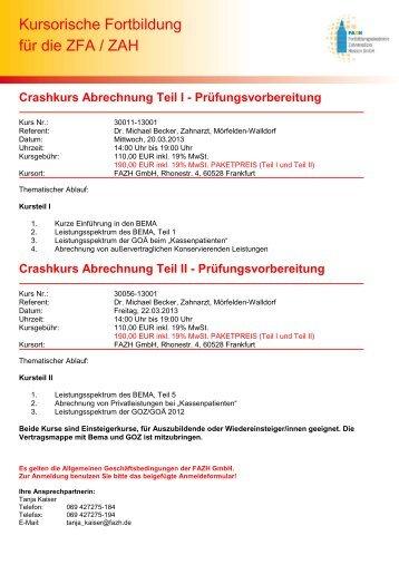 Crashkurs Abrechnung Teil II - Fortbildungsakademie Zahnmedizin ...