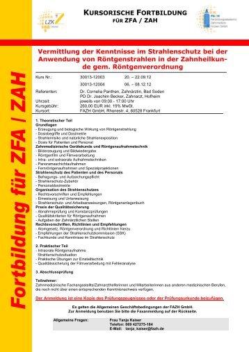 Vermittlung der Kenntnisse im Strahlenschutz bei der Anwendung ...