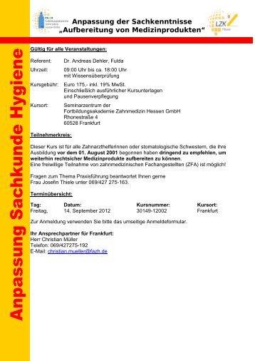 Aufbereitung von Medizinprodukten - Fortbildungsakademie ...