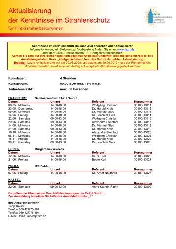 Anmeldung zur Aktualisierung der Kenntnisse im Strahlenschutz