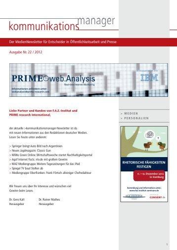 Ausgabe Nr. 22 / 2012 Der MedienNewsletter für ... - FAZ-Institut