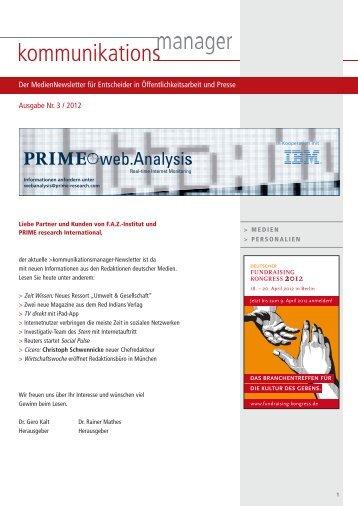 Ausgabe Nr. 3 / 2012 Der MedienNewsletter für ... - FAZ-Institut
