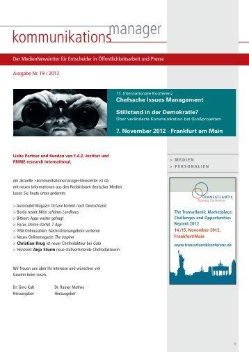 Chefsache Issues Management 7. November 2012 - FAZ-Institut