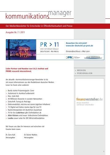 Ausgabe Nr. 7 / 2011 Der MedienNewsletter für ... - FAZ-Institut