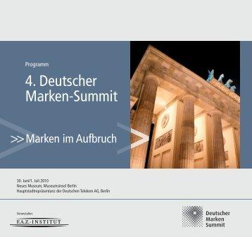 Programm 4. Deutscher Marken-Summit - FAZ-Institut