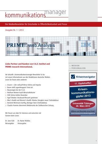 Ausgabe Nr. 1 / 2013 - FAZ-Institut
