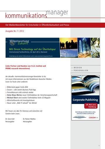 Ausgabe Nr. 7 / 2012 - FAZ-Institut