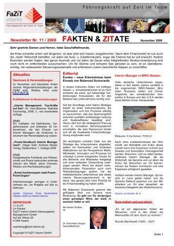 Newsletter Nr. 11 / 2008 FAKTEN & ZITATE - FaZiT Interim GmbH