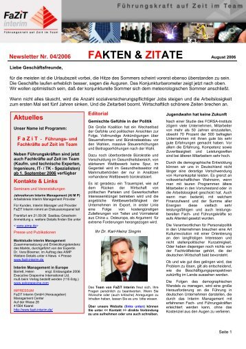 Ausgabe 04 / 2006 - FaZiT Interim GmbH