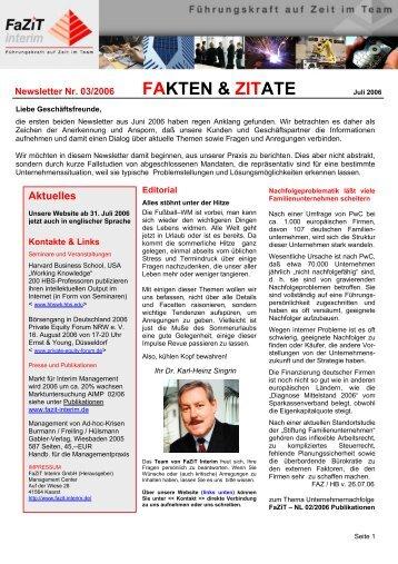 Ausgabe 03 / 2006 - FaZiT Interim GmbH