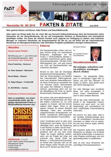 Ausgabe 06 / 2010 - FaZiT Interim GmbH