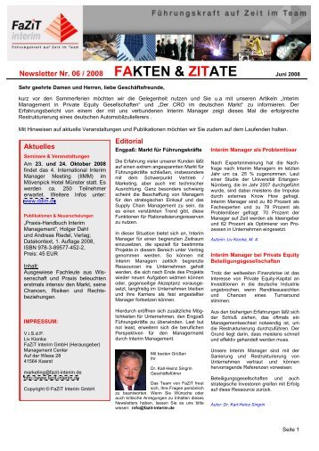 Ausgabe 06 / 2008 - FaZiT Interim GmbH