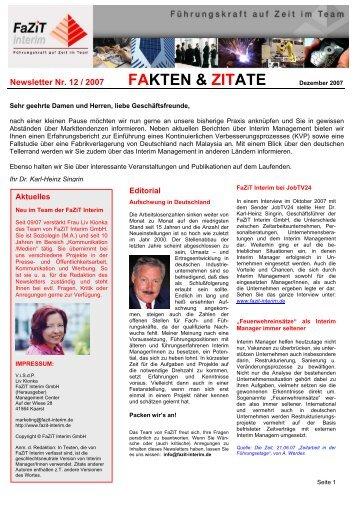 Ausgabe 12 / 2007 - FaZiT Interim GmbH