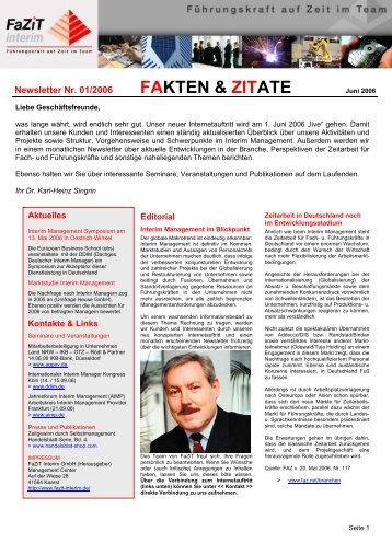 Ausgabe 01 / 2006 - FaZiT Interim GmbH