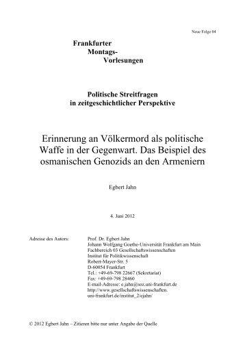 Erinnerung an Völkermord als politische Waffe in der Gegenwart ...