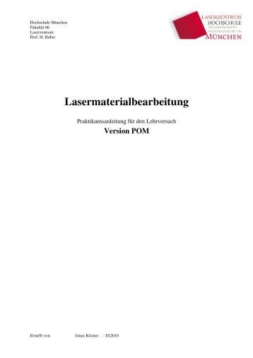 Lasermaterialbearbeitung für POM - Fakultät 06 - Hochschule ...