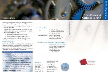 Produktion und Automatisierung - Fakultät 06 - Hochschule München