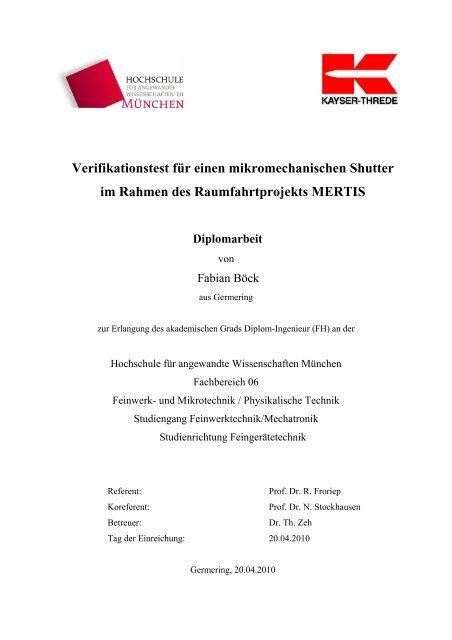 Verifikationstest für einen mikromechanischen Shutter im Rahmen ...