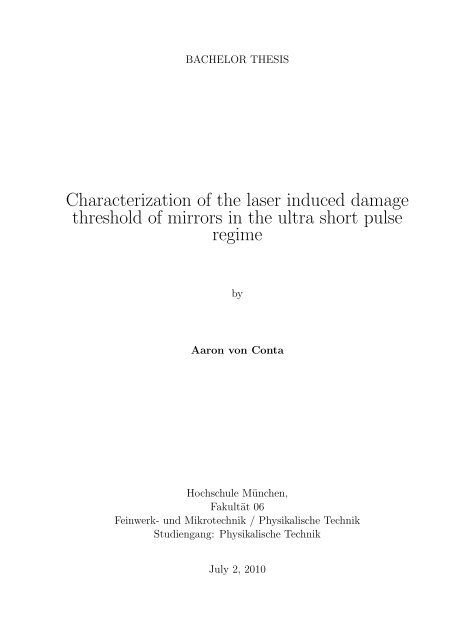 Characterization of the laser induced damage threshold of mirrors in ...