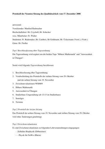 Protokoll QZ Dez 2008