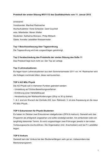 Protokoll QZ 11.01.12