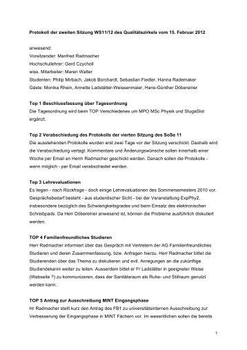 Protokoll QZ 15.02.2012