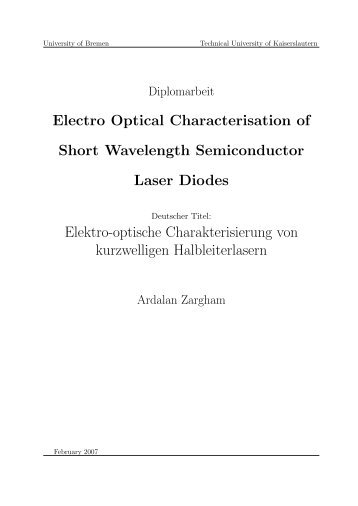 Electro Optical Characterisation of Short Wavelength Semiconductor ...