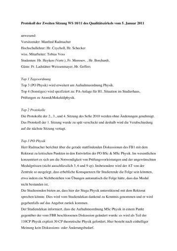 Protokoll QZ 5. Januar 2011