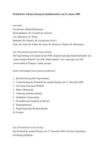 Protokoll QZ Jan 2009