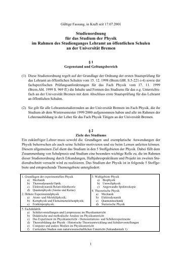 StO-Ph-LA 2001.10 - Fachbereich Physik und Elektrotechnik der ...