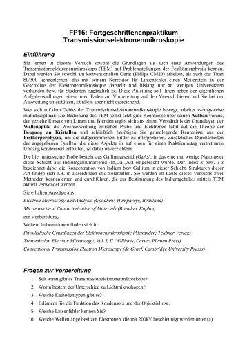 FP16: Fortgeschrittenenpraktikum ...