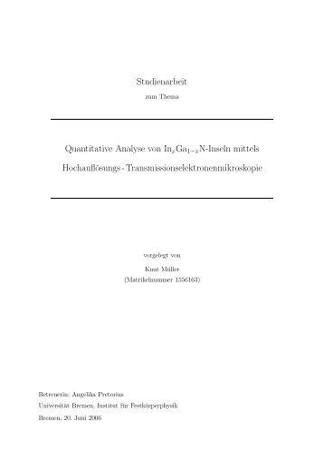 Studienarbeit Quantitative Analyse von InxGa1?x N-Inseln mittels ...