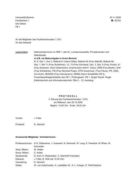 Universitt Bremen - Fachbereich Physik und Elektrotechnik der ...
