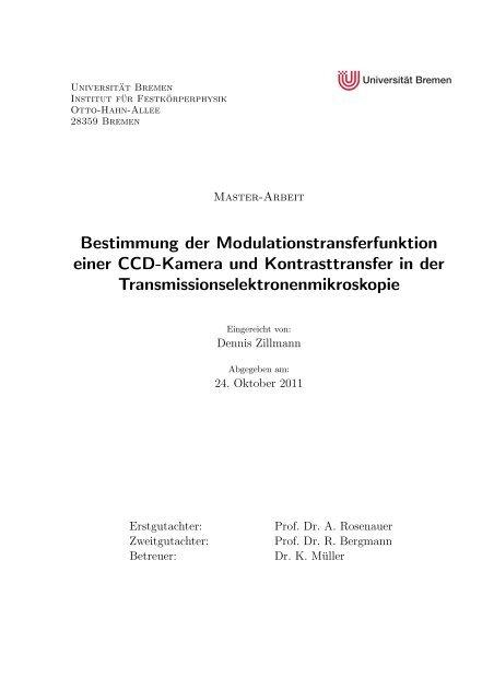 Bestimmung der Modulationstransferfunktion einer CCD-Kamera ...