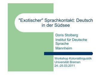 Sprachkontakt: Deutsch in der Südsee - Universität Bremen