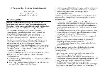 5 Thesen zu einer deutschen Koloniallinguistik 1 Forschungsfelder