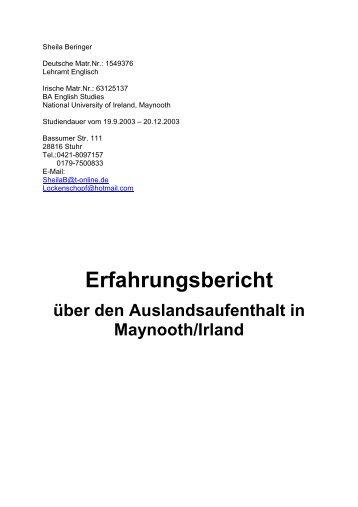 Sheila Beringer - Fachbereich 10 - Universität Bremen