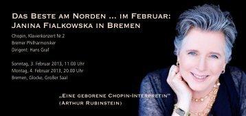 Das Beste am Norden ... im Februar: Janina Fialkowska in Bremen