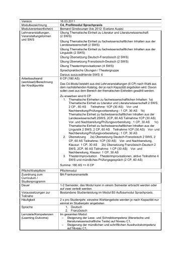 C4, Profilmodul Sprachpraxis